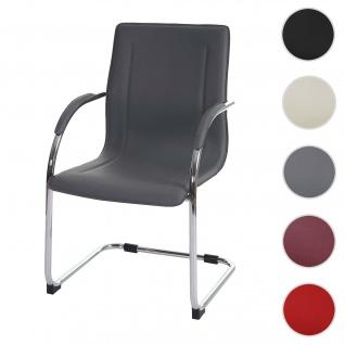 Esszimmerstuhl Samara, Freischwinger Küchenstuhl Lehnstuhl Stuhl, PVC Stahl ~ grau