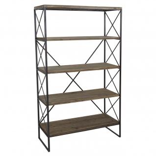 Bücherregal HWC-C10, Standregal Wohnregal, Echtholz Metall ~ 5 Ebenen, 174x102cm