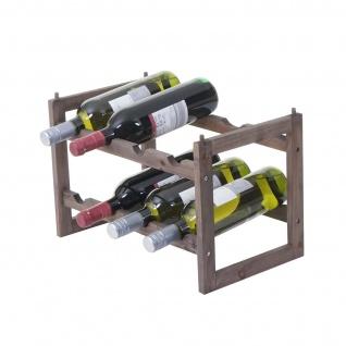 Weinregal HWC-B58, Flaschenregal Weinständer Weinhalter, Tanne 2 Böden ~ 1 Stück