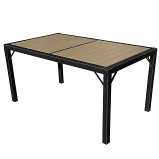 Poly-Rattan Gartentisch Ariana, Tisch, WPC anthrazit, 150x90cm