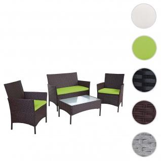 2-1-1 Poly-Rattan Garten-Garnitur Halden, Sitzgruppe Lounge-Set Sofa ~ braun-meliert, Kissen grün
