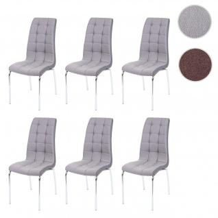 6x Esszimmerstuhl HWC-F29, Stuhl Küchenstuhl, Kunstleder Stoff/Textil ~ hellgrau