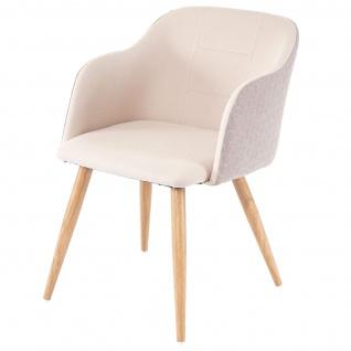 2x Esszimmerstuhl HWC-D71, Stuhl Küchenstuhl, Retro Design, Armlehnen Stoff/Textil ~ creme-beige - Vorschau 4