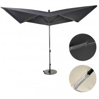 Luxus-Sonnenschirm HWC-A37, Marktschirm Gartenschirm, 3x3m (Ø4, 24m) Polyester/Alu 10kg ~ anthrazit mit Ständer