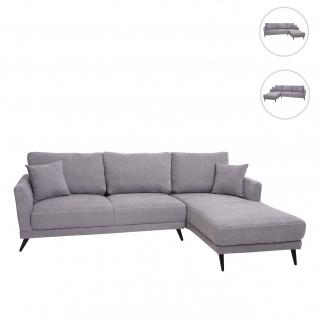 Sofa HWC-G45, Couch Ecksofa L-Form 3-Sitzer, Liegefläche Nosagfederung Taschenfederkern ~ rechts, vintage grau