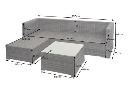 Poly-Rattan Garnitur HWC-F57, Balkon-/Garten-/Lounge-Set Sofa Sitzgruppe ~ grau, Kissen dunkelgrau mit Deko-Kissen - Vorschau 5