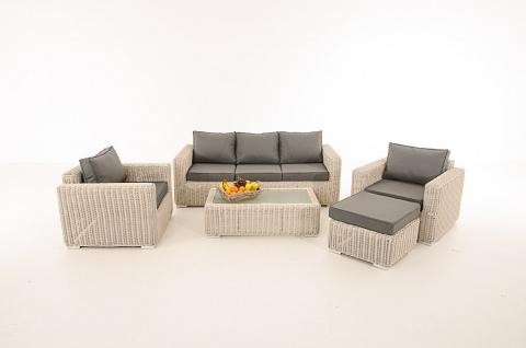 3-1-1 Gartengarnitur CP053 Sitzgruppe Lounge-Garnitur Poly-Rattan ~ Kissen eisengrau, perlweiß