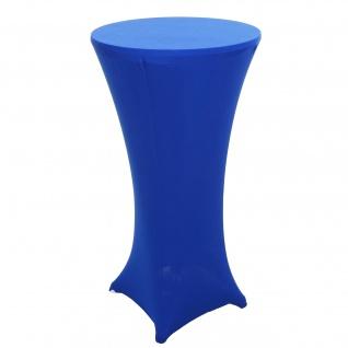Set Stehtisch + Stehtischhusse HWC-J30, Bistrotisch Tischhusse, klappbar höhenverstellbar Ø 60cm ~ Husse blau - Vorschau 2
