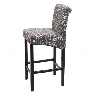 Barhocker HWC-C33, Barstuhl Tresenhocker, Holz ~ Schriftzug, grau, dunkle Beine, Stoff/Textil - Vorschau 5