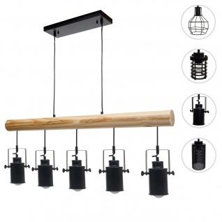 Pendelleuchte HWC-H83, Hängelampe Hängeleuchte, Industrial Vintage Massiv-Holz Metall schwarz ~ 5 Spotlampenschirme