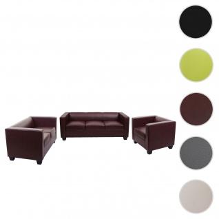 3-2-1 Sofagarnitur Couchgarnitur Loungesofa Lille ~ Kunstleder, rot-braun