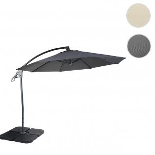 Deluxe Ampelschirm HWC-D14, Sonnenschirm, rund Ø 3m Polyester Alu/Stahl 14kg ~ anthrazit mit Ständer