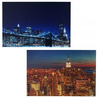 2x LED-Bild Leinwandbild Leuchtbild Wandbild 40x60cm, Timer ~ Skyline New York