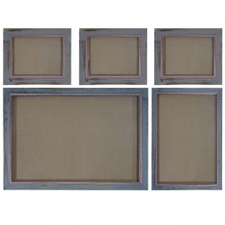 Bilderrahmen Set, Fotorahmen Wand-Rahmen, 3x 19x24cm 1x 26x36cm 1x 36x51cm Holz Shabby Landhaus ~ grau