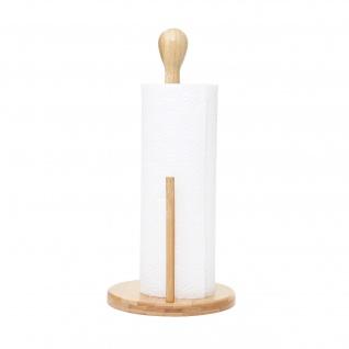 Küchenrollenhalter HWC-B84, Rollenhalter Küchenpapierständer Ständer, Bambus 34x16x16cm - Vorschau 5