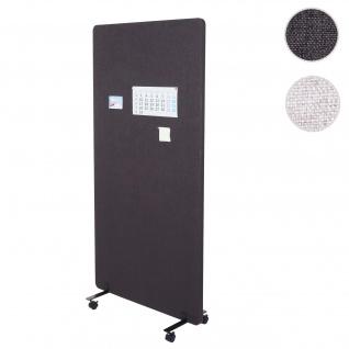 Akustik-Trennwand HWC-G77, Büro-Sichtschutz Raumteiler Pinnwand, doppelwandig rollbar Stoff/Textil ~ 167x80cm braun-grau