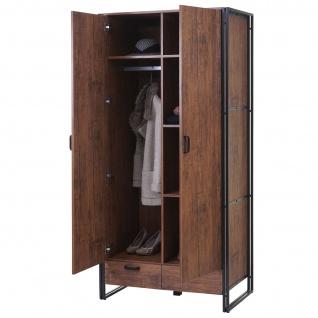 Garderobenschrank HWC-A27, Kleiderschrank Schrank 190x90x50cm 3D-Struktur, Wildeiche-Optik - Vorschau 1