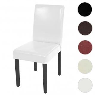 Esszimmerstuhl Littau, Küchenstuhl Stuhl, Leder ~ weiß, dunkle Beine