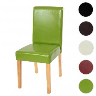 Esszimmerstuhl Littau, Küchenstuhl Stuhl, Kunstleder ~ grün, helle Beine