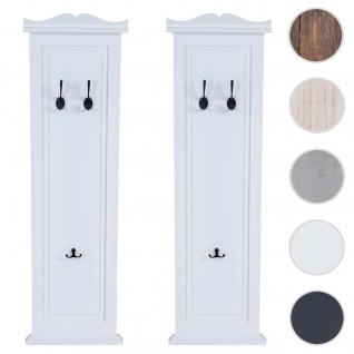2x Garderobe Wandgarderobe Garderobenpaneel Wandhaken 109x28x4cm ~ weiß lackiert