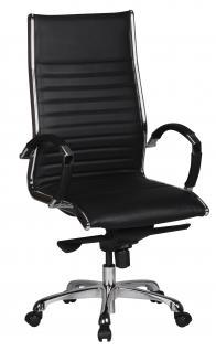 Bürostuhl A106, Chefsessel Drehstuhl, Leder mit 5-Punkt Multiblock-Mechanik schwarz