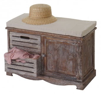 Sitzbank Ascoli, Bank Kommode, Shabby-Look Vintage 49x71x32cm braun