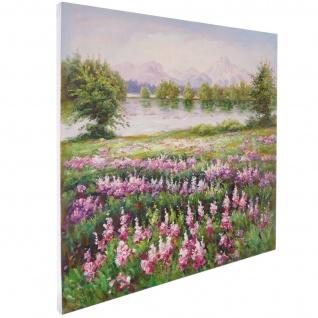 Ölgemälde Blumenwiese, 100% handgemaltes Wandbild XL, 80x80cm - Vorschau 3