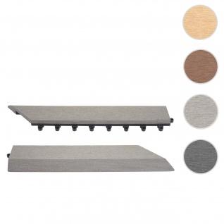 2x Abschlussleiste für WPC Bodenfliese Rhone, Abschlussprofil, Holzoptik Balkon/Terrasse ~ grau rechts mit Haken