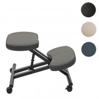 Kniestuhl HWC-E10, Sitzhocker Kniehocker, höhenverstellbar Rollen Kunstleder Metall ~ dunkelgrau matt