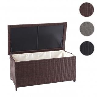 Poly-Rattan Kissenbox HWC-D88, Gartentruhe Auflagenbox Truhe ~ Premium braun, 51x115x59cm 250l