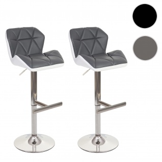 2x Barhocker HWC-A92, Barstuhl Tresenhocker, höhenverstellbar Kunstleder ~ grau, Fuß gebürstet - Vorschau 1