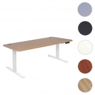 Schreibtisch HWC-D40, Computertisch, elektrisch höhenverstellbar 160x80cm 53kg ~ hellbraun, weiß