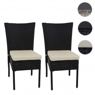 2x Poly-Rattan Stuhl HWC-G19, Balkonstuhl Gartenstuhl, stapelbar ~ schwarz, Kissen creme
