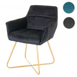 Esszimmerstuhl HWC-F37, Stuhl Küchenstuhl, Retro Design Samt goldene Füße schwarz