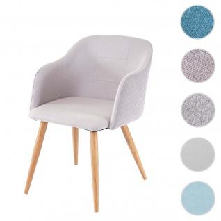 Esszimmerstuhl HWC-D71, Stuhl Küchenstuhl, Retro Design, Armlehnen Stoff/Textil ~ hellgrau-grau