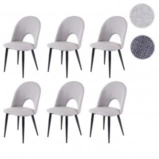 6x Esszimmerstuhl HWC-D73, Stuhl Küchenstuhl, Stoff/Textil grau