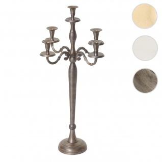 Kerzenleuchter HWC-D81, Kerzenständer Leuchter Kerzenhalter, 5-armig aus Aluminium 60cm massiv 1, 6kg ~ Farbe: Antik Gold