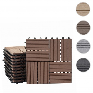 WPC Bodenfliese Rhone, Holzoptik Balkon/Terrasse, 11x je 30x30cm = 1qm ~ Premium, coffee Vierecke