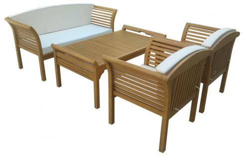 Garten-Garnitur FG26, Sitzgruppe Lounge-Set, inkl. Auflagen, Eukalyptusholz