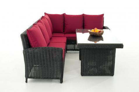 Sofa-Garnitur CP056, Lounge-Set Gartengarnitur, Poly-Rattan ~ Kissen rubinrot, schwarz