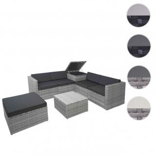 Poly-Rattan-Garnitur HWC-D21, Balkon-/Garten-/Lounge-Set Sofa Sitzgruppe, Box Staufach ~ grau, Kissen dunkelgrau