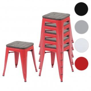 6x Hocker HWC-A73 inkl. Holz-Sitzfläche, Metallhocker Sitzhocker, Metall Industriedesign stapelbar ~ rot