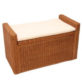 Sitzbank Sitzhocker mit Stauraum Rattan honig