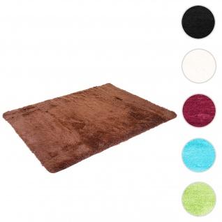 Teppich HWC-F69, Shaggy Läufer Hochflor Langflor, Stoff/Textil flauschig weich 200x140cm ~ dunkelbraun