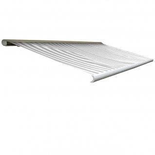 Elektrische Kassettenmarkise T123, Markise Vollkassette 4, 5x3m ~ Acryl Grau/Weiß