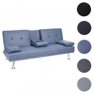 3er-Sofa HWC-F60, Couch Schlafsofa Gästebett, Tassenhalter verstellbar 97x166cm ~ Kunstleder, dunkelblau