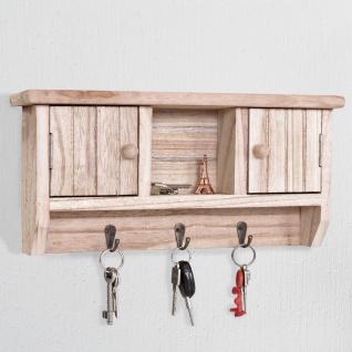Schlüsselbrett HWC-A48, Schlüsselkasten Schlüsselboard mit Türen, Massiv-Holz ~ natur - Vorschau 2