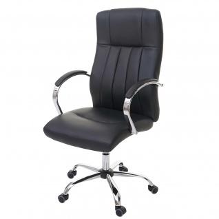 Bürostuhl Quebec, Drehstuhl Schreibtischstuhl Chefsessel, Kunstleder schwarz