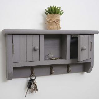 Schlüsselbrett HWC-A48, Schlüsselkasten Schlüsselboard mit Türen, Massiv-Holz ~ grau - Vorschau 2