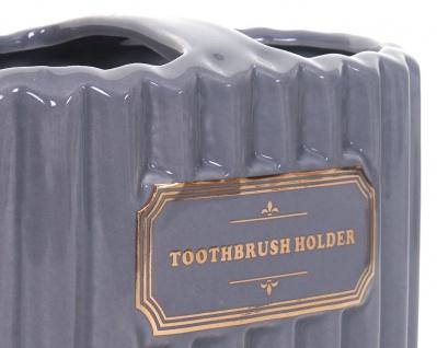 5-teiliges Badset HWC-C96, WC-Garnitur Badezimmerset Badaccessoires, Keramik grau/gold - Vorschau 4